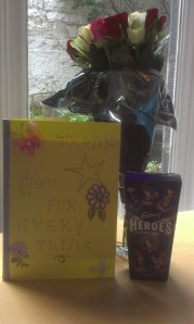 Flowers, Chocolates and card for June